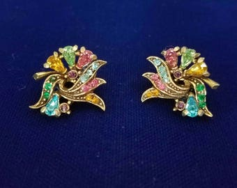 Vintage Hollycraft Multi-Color Rhinestone Earrings