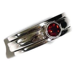 Garnet Spinner Ring Narrow Silver, Fidget Ring, Worry Ring, January Birthstone Rings, Garnet Ring, Gemstone Silver Ring, Mistry Gems, SP46SG