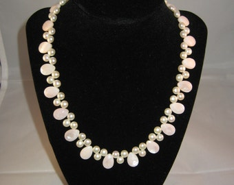 Rose Quartz and Pearl Necklace
