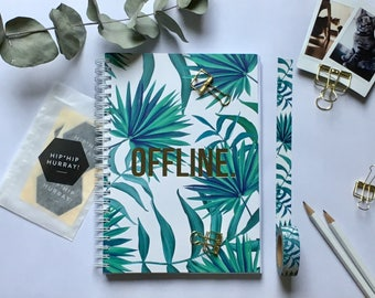 Offline Notebook Journal Diary Writing journal | Botanical Print with Goldfoil Quote OFFLINE