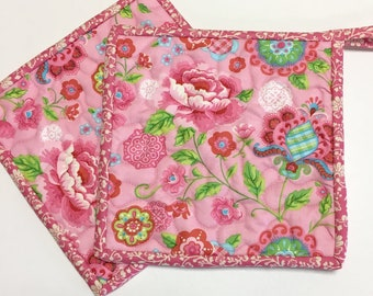 Pink Floral Pot holders-Hot Pads-Modern Kitchen-Quilted (Set of Two) Handmade