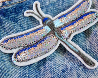 Dragonfly Iron On Patch Blue Bottle Embroidered Sequin Ready to Use Shimmery Embroidered Insect Applique for Custom Clothing with Hot Fix UK