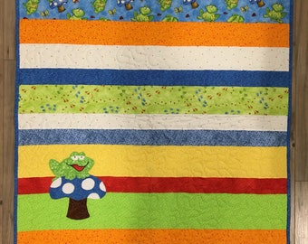 Frog On A Toad Stool Baby Quilt