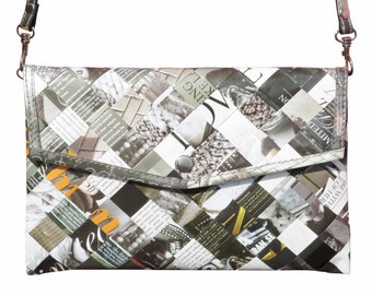Envelop clutch magazine paper black & white, FREE SHIPPING, vegan purse, eco-friendly shoulder bag, sustainable purse, Upcycled gifts