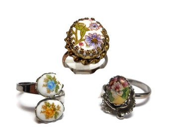 Vintage Spring Flower Ring Trio