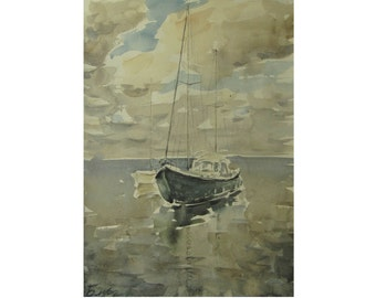 Yachts and clouds - Baltic seascape - original watercolor