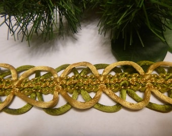 """Vintage Olive Green & Gold Colored Satiny Trim, Corded Edging      36""""     (T)"""