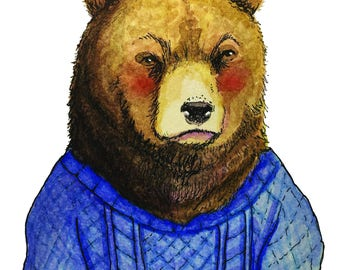 Bear in a cable knit sweater (print)