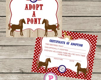Adopt a farm animal adoption certificate horse birthday party adopt a pony pony adoption certificate horse birthday party ideas red barn wood farm cowboy horseback yadclub Choice Image