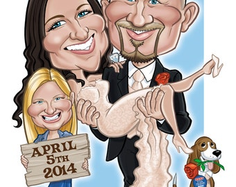 Wedding Caricature Guest Registry on Canvas