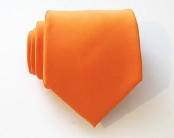 Mens Tie. Orange Tie With *FREE* Matching Pocket Square Orangered Silk Mens Necktie Pocket Square Set