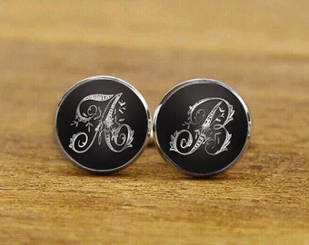 personalized cufflinks, vintage silver monogram cufflinks, custom initials cufflinks, wedding cuff links, groomsman cufflinks, tie clips