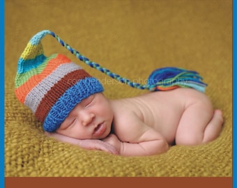 Newborn Baby Boy Hat PHoTO PRoP Knit LoNG TaSSeL BeANiE Cozy Stocking Cap CoMiNG HoME ToQUE Blue Brown Grey Orange Aqua Stripe CHooSE CoLOR