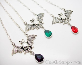Bat Necklace - Silver Bat Necklace - Gothic Jewellery - Gothic Bat necklace - Bat Pendant Necklace - Gothic Gift - Gift For Her - Halloween