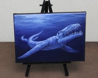 "5x7"" Mini Painting, Original Oil Painting - Dinosaur Liopleurodon Seacreature Wall Art"