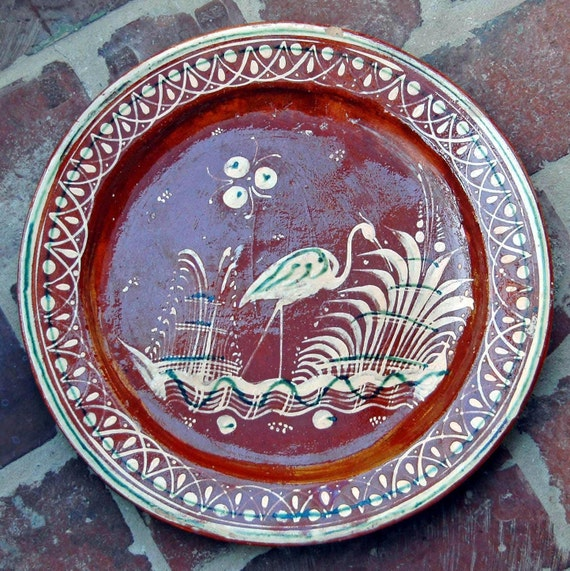 """Reduced: 1930s Mexican Tlaquepaque Bandera REDWARE POTTERY CHOP Plate w/ Bird 13 1/4"""" Di Hand Painted Very Good Condition"""