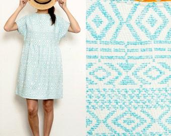 Ethnic Turquoise Pure Vintage cotton White Smock Dress [Yoko dress/white ethnic]