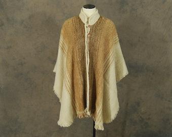 Clearance SALE vintage 70s Wool Cape - 1970s Boho Beige Wool Poncho Cape Blanket Coat Sz S M L Xl