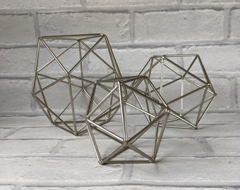 Trio of Geodesic Metal Balls Ornamental Hollow Display Metal