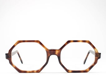 70s Eyeglass Frame | Oversized Glasses | Octagon Eyeglasses | 1970s Vintage Tortoiseshell Glasses Frames - Hard Eight