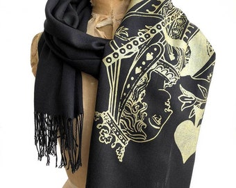 Queen of Spades scarf, playing card linen-weave pashmina. Poker gift, card shark gift, club girl present. Royal flush!