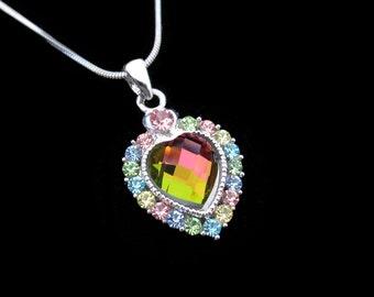 Crystal Heart Pendant Charm Necklace Silver Tone Multi Color With 10mm Heart Rainbow Medium Vitrail