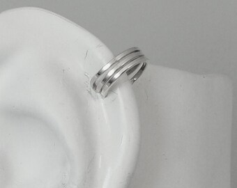 POST Pierced Cartilage Helix Earring Hoop Hex Silver Hoop Cartilage Piercing Tragus Rook Pierced Upper Ear Ring Triple Square Wire MC3SQSSP