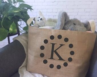 personalized kids toy storage basket/ children's toy bin/ nursery storage/ baby shower gift bag/ toy basket/ toy tote/monogram storage  bin