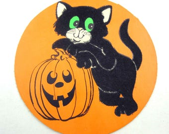 Vintage Halloween Die Cut Decoration with Flocked Black Cats and Neon Orange Grinning Jack O Lantern