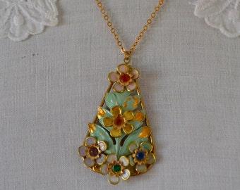 Enamel Flower Pendant, Vintage Green Pendant, Rhinestone Flower Pendant