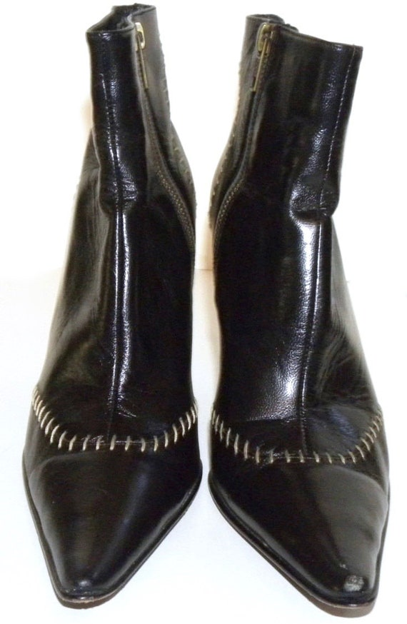 Booties Leather Pointy 90s made Women 38 Toe Italy BLACK size Zip Up Vintage Ankle LUXE Boots CHIC w0gxgqzE