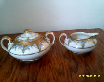 Vintage Handpainted Nippon Sugar and Creamer Set, Made in Japan, Formal Sugar and Creamer