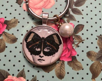 Vintage lady with butterfly mask