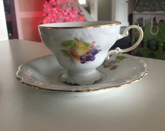 Johann Haviland Bavaria Germany tea cup and saucer fruit