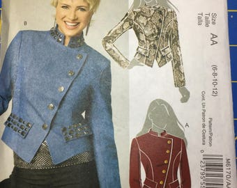 McCall's 6170 misses' lined jackets assymetrical front closure size AA uncut