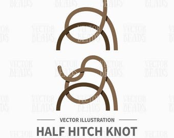 Vector Illustration of Half Hitch Knot - Instant Download