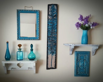 Teal Wall Arrangement, Wall Decor, Teal Decor, Mirrors, Feather Art,  Shelving