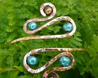 Armband, Upper Arm Cuff, Armlet - Silver and Teal or CUSTOM CREATED