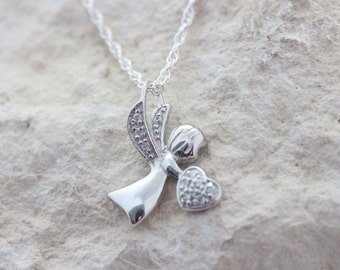 Sterling silver guardian Angel Necklace, Silver Angel with CZ Charm Silver Angel necklace, First communion, Baptism Gift. Choose chain