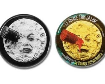 Le Voyage Dans La Lune buttons set of 2! (25mm, 1 Inch, George Melies, Trip To The Moon, badges, pins)