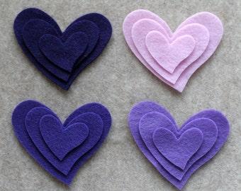Purple Haze -Tipsy Hearts - 36 Die Cut Felt Shapes