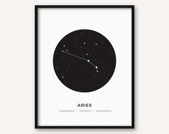 Aries Constellation Print, Printable Zodiac Sign Wall Art, Minimalist Modern Geometric Poster, Black and White Decour, Astrology, Stars