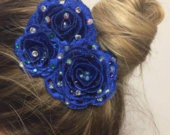 3 royal blue roses hair clip