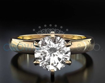 Diamond Engagement Ring 0.7 Carat Round Brilliant Cut D SI Women Solitaire Ring 14 Karat Yellow Gold