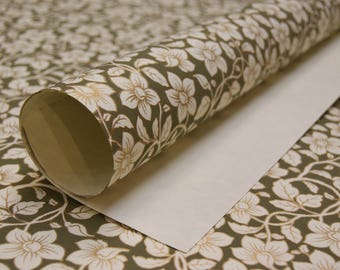 Green Cream Gold Floral print on cream handmade Wrapping Paper gift wrap set of two large sheets