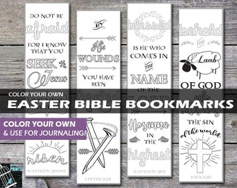 Easter Bible Bookmarks, Easter basket, gift tag, Bible journaling template, stencil, bible verse, bible journaling printable, bible journal
