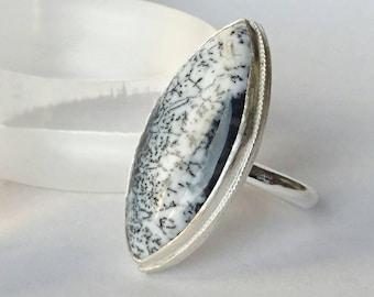 Sterling silver handmade marquise dendrite opal ring, hallmarked in Edinburgh