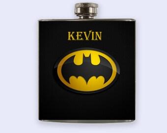 Batman Flask, Personalized Custom Flask, batman flask