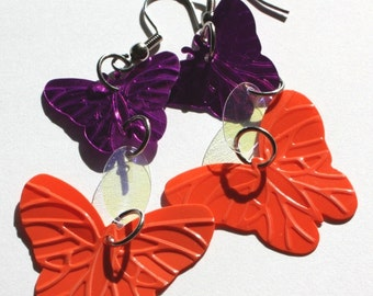 Butterfly Earrings Orange & Purple Metallic Confetti Dangles Plastic Sequins