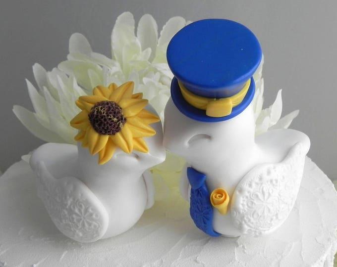 Love Birds Cake Topper, Wedding, Sunflower Wedding, White,Yellow, and Royal Blue, Fully Custom, Bride and Groom Keepsake